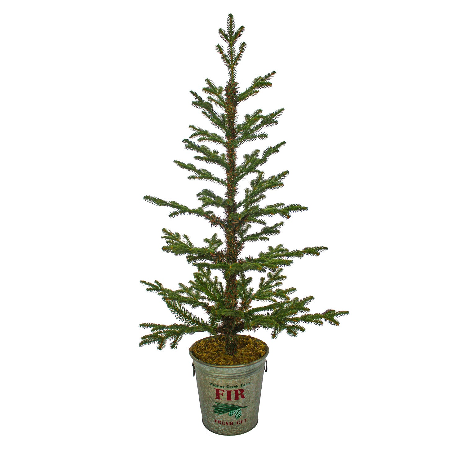 "48""H Christmas Timberland Artifical Tree in Galvanized Holiday Bucket"