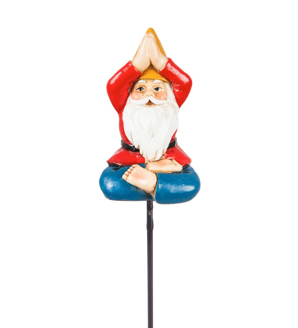 "13""H Yoga Gnome Plant Pick, Yellow Hat"