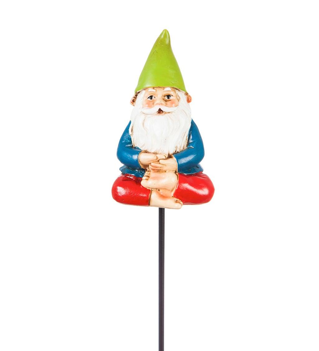 "13""H Yoga Gnome Plant Pick, Green Hat"
