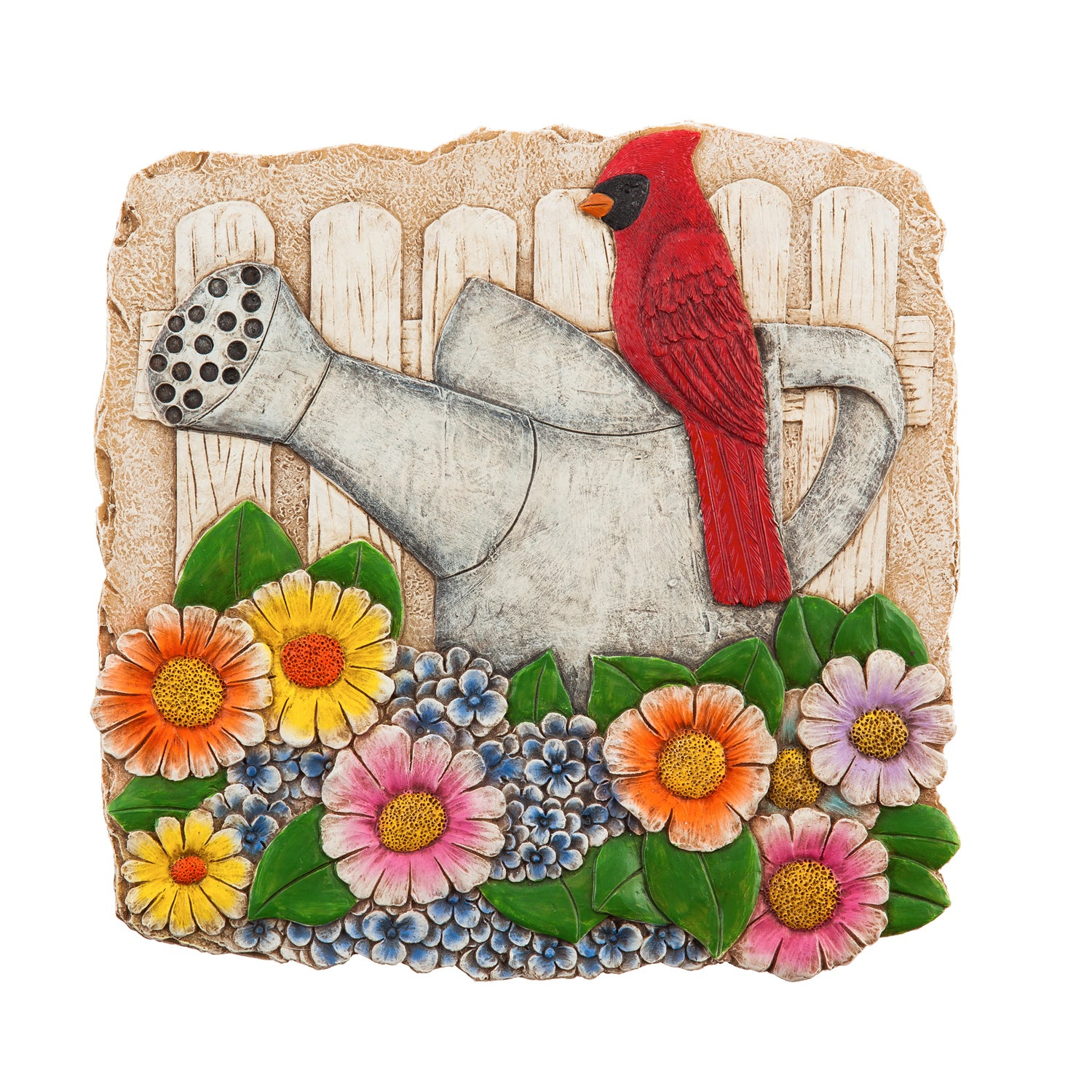 """10"""" Garden Stone, Cardinal and Watering Can in Florals"""