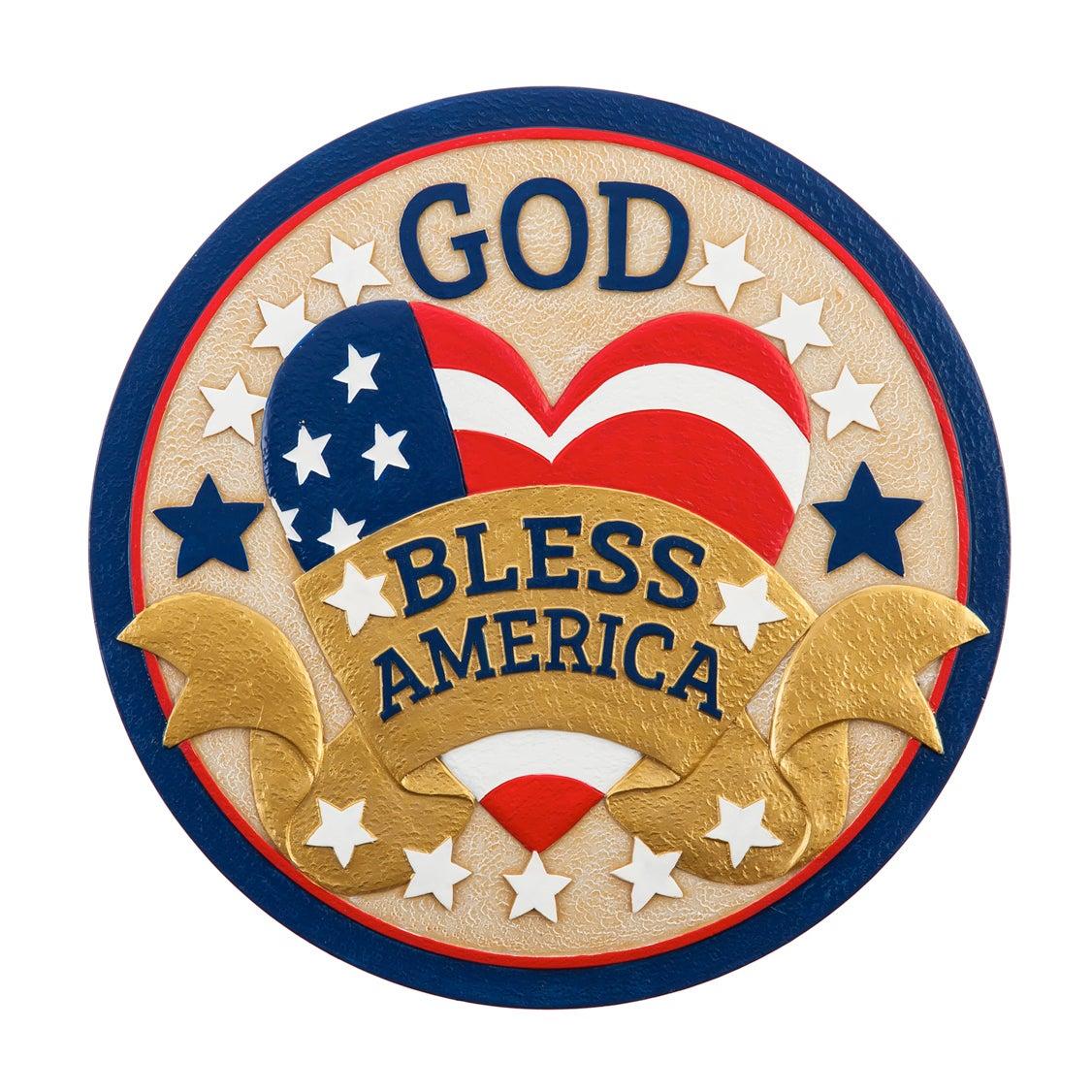 """10"""" Garden Stone, God Bless America"""