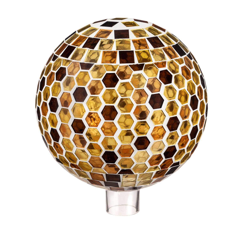 "10"" Mosaic Glass Gazing Ball, Honeycomb"