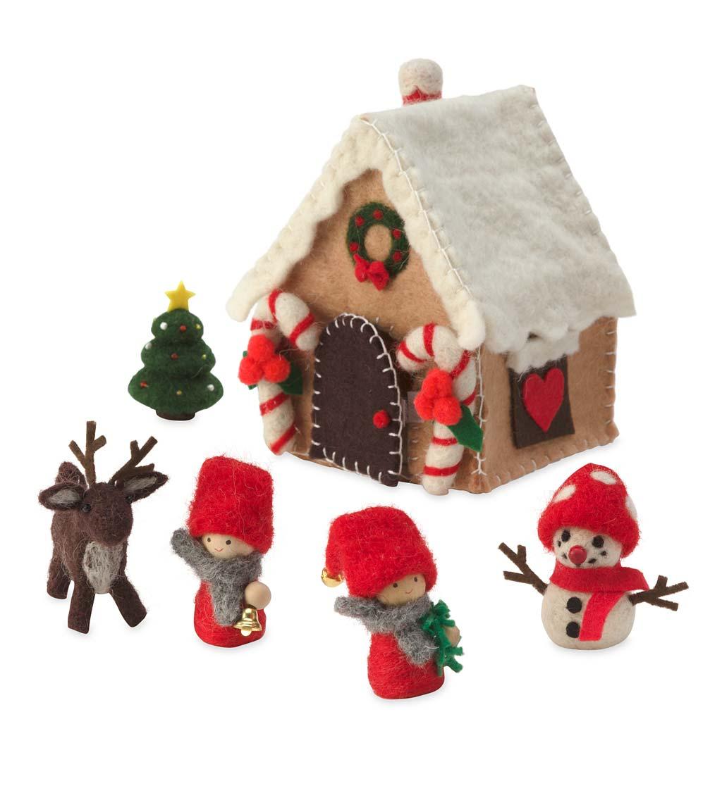 felt gingerbread house play set