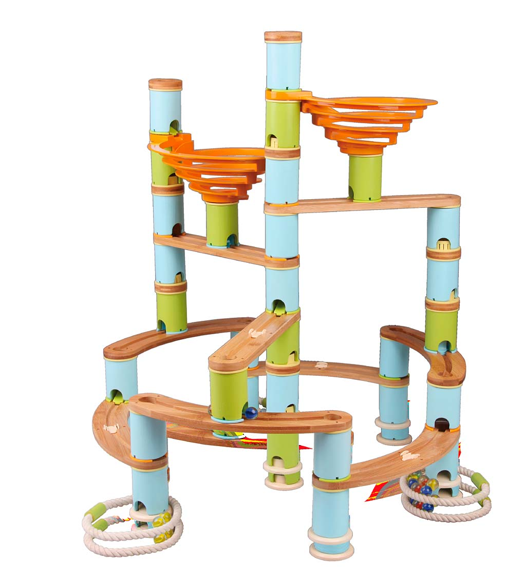 Bamboo Bamboo Bamboo Hand-crafted Marble Run, 168 pieces 4e3d58