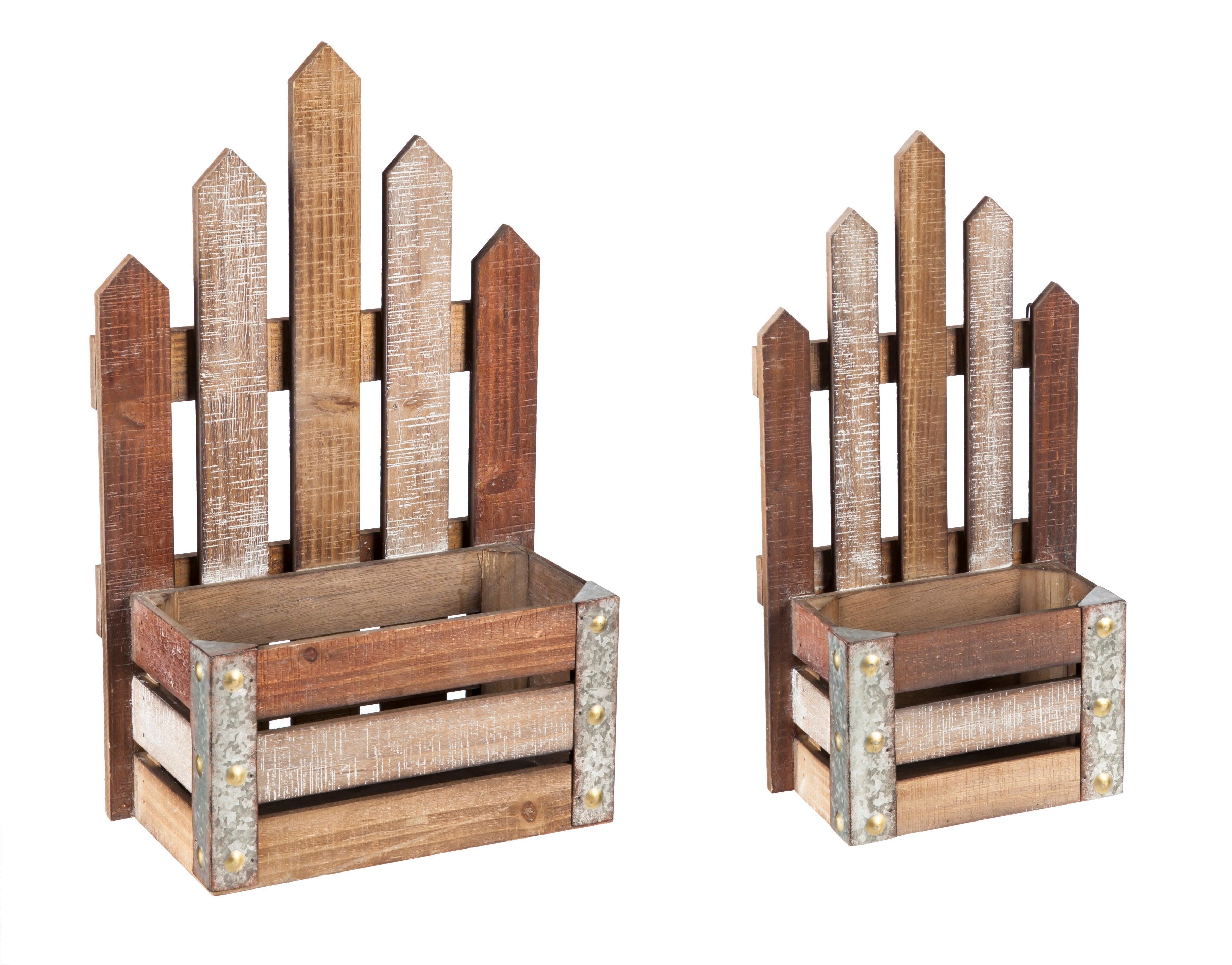 Metal and Wood Wall Storage, Set of 2