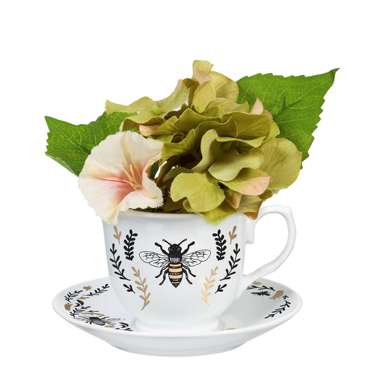 Green Hydrengea in Tea Cup and with Saucer