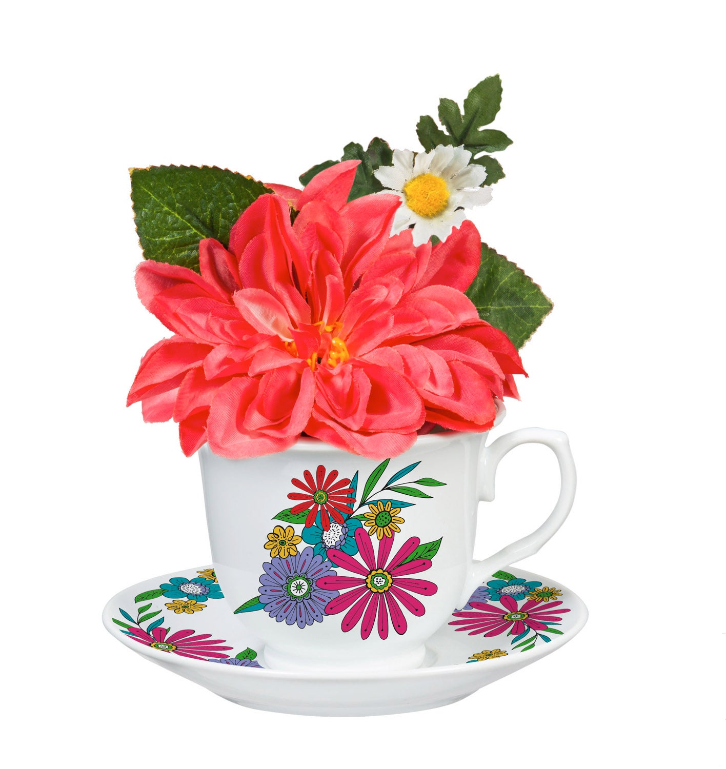 Coral Charm Peony in Tea Cup with Saucer