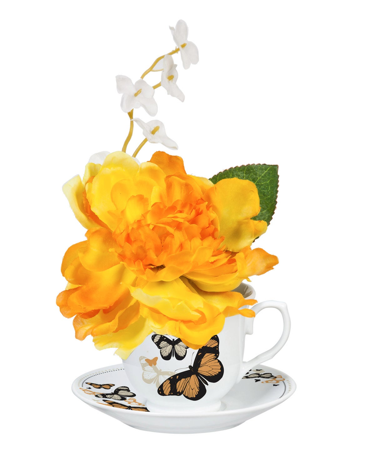 Canary Brilliant Peony in Tea Cup with Saucer