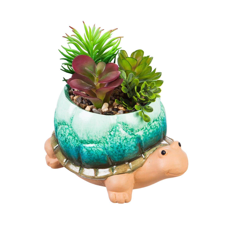 Ceramic Turtle Planter with Succulent