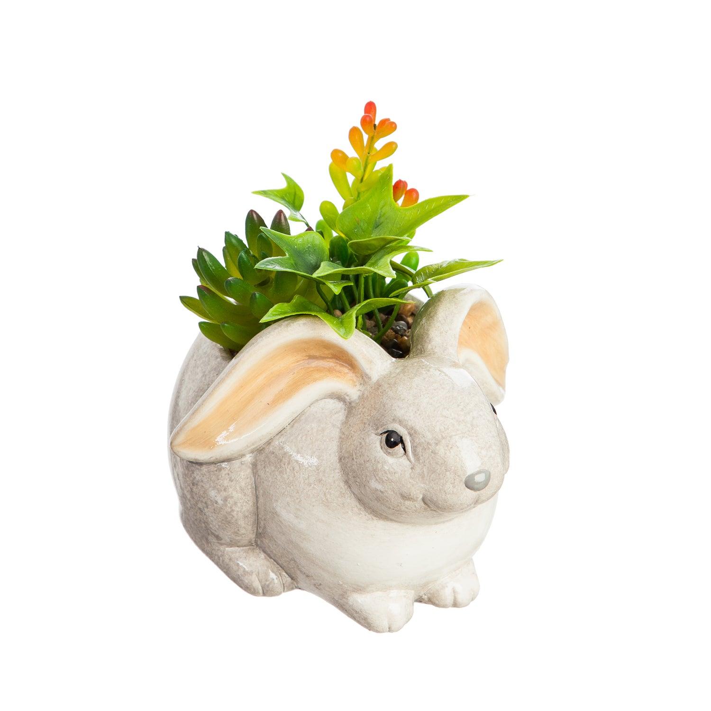Ceramic Rabbit Planter with Succulent