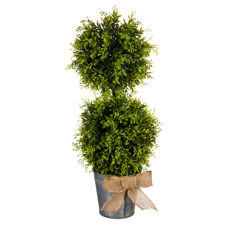 LED Boxwood Topiary in Galvanized Pot