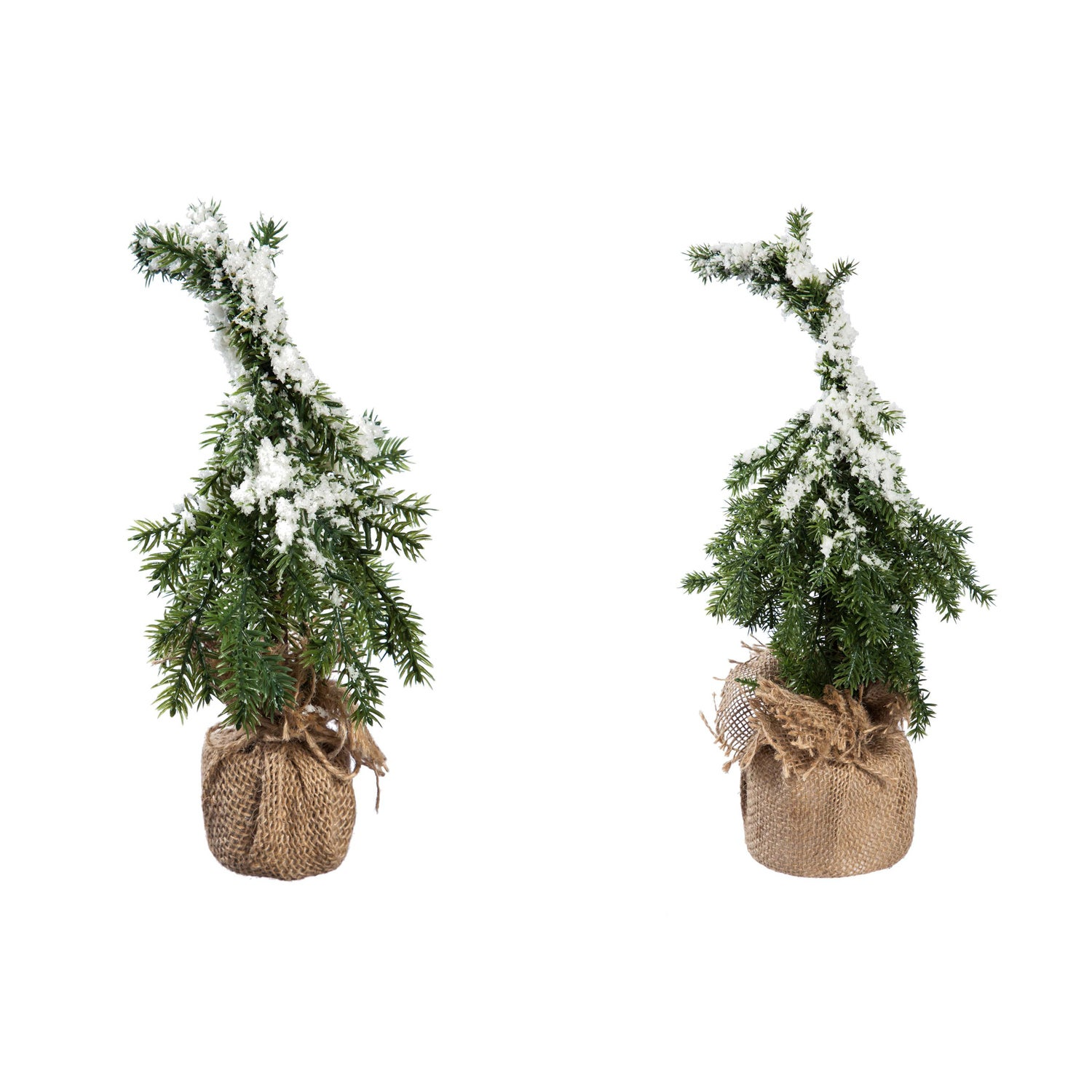 Snow Covered Tree in Burlap Pot, Set of 2