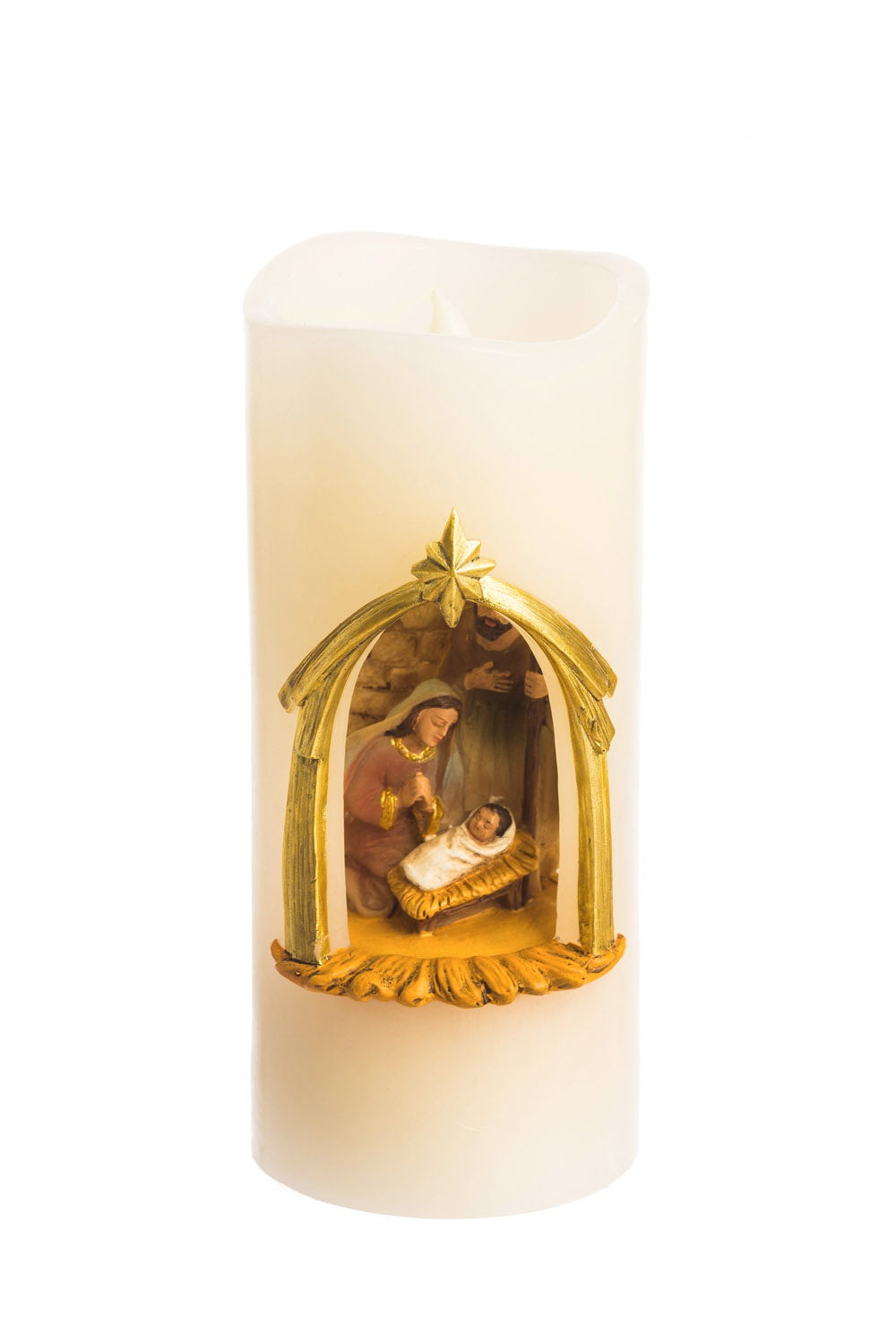 Battery Operated Flameless LED Wax Holy Family Pillar Candle
