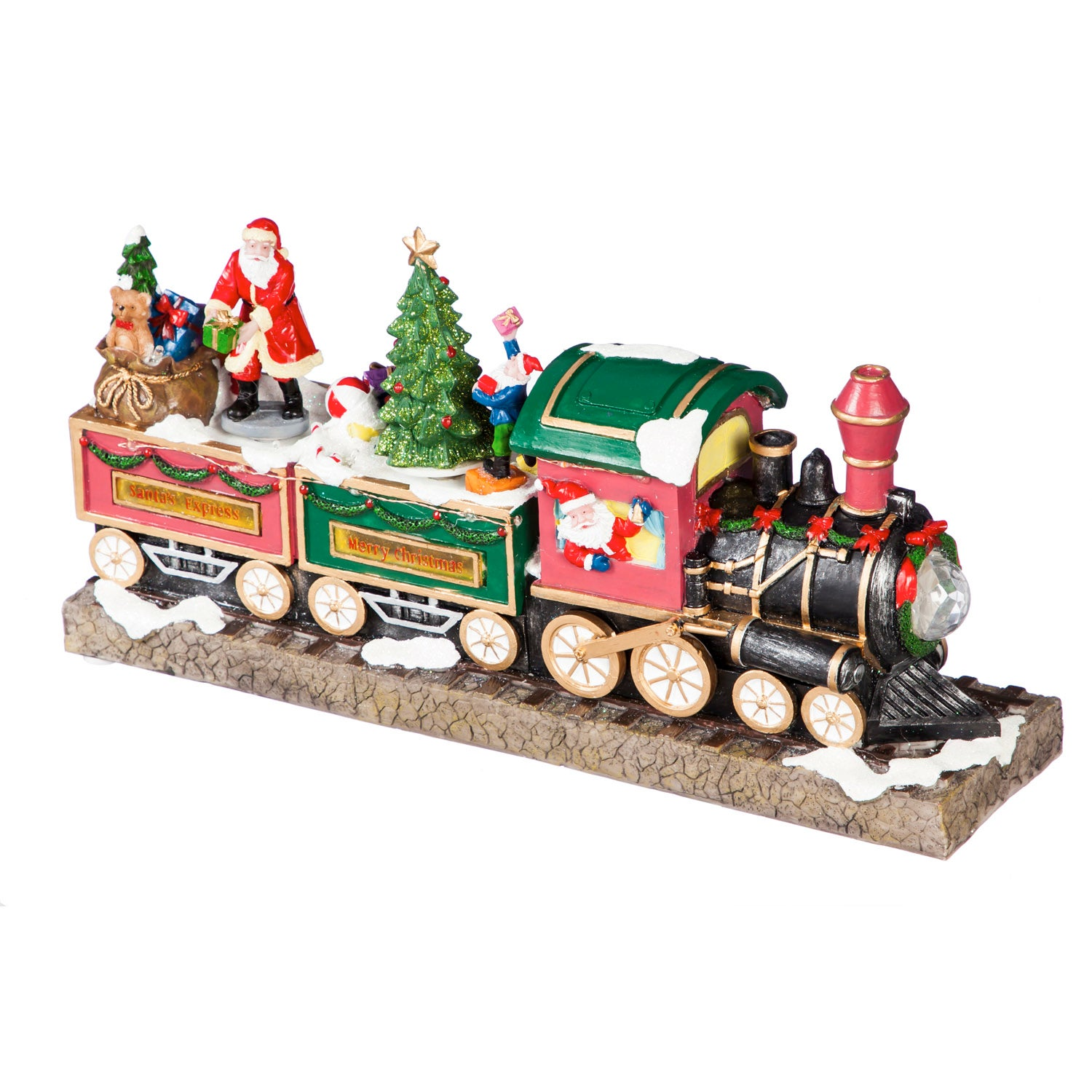 "15"" LED Polyresin Musical Train Scene with 8 Holiday Songs and Animated Santa"