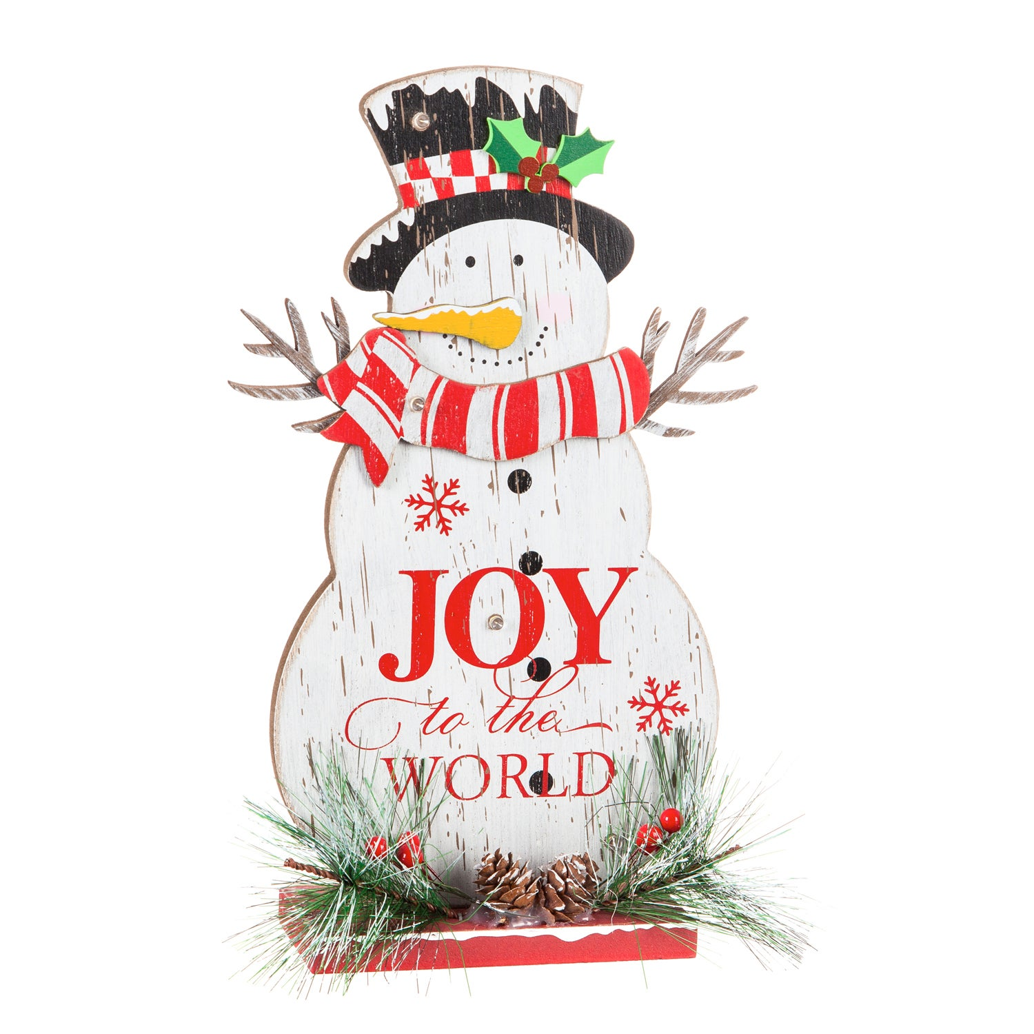 LED Wooden Snowman Tabletop Décor