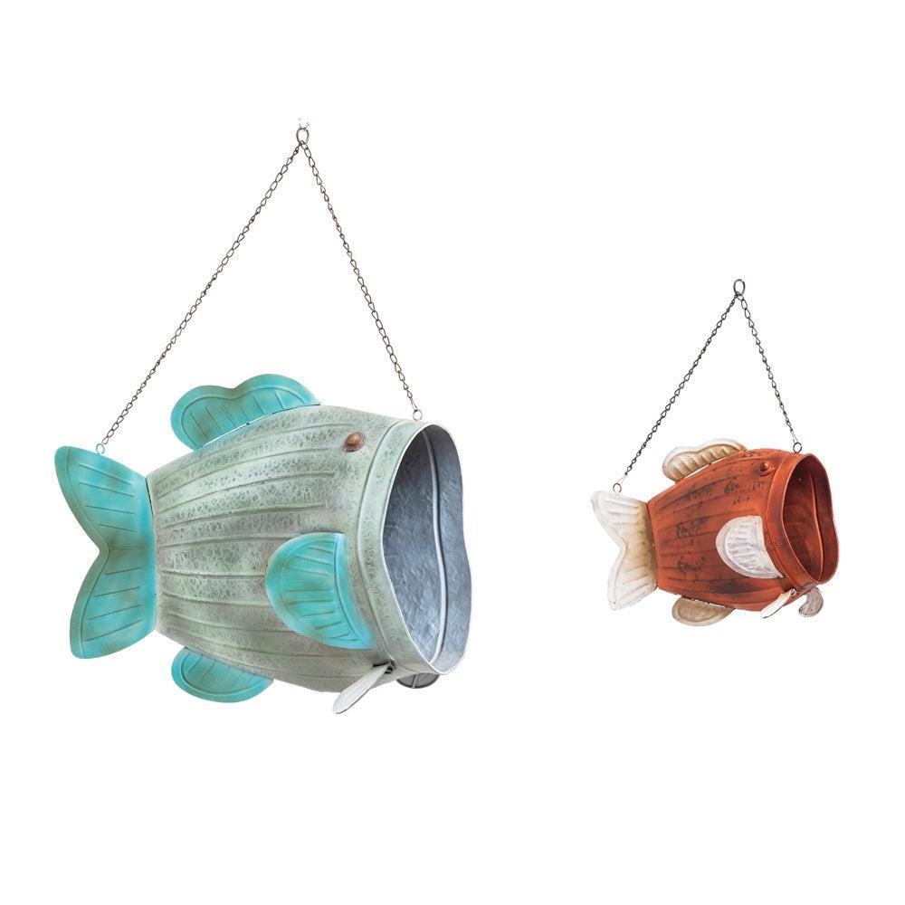 Cape Craftsmen Vintage Hanging Metal Fish Planters, Set of 2