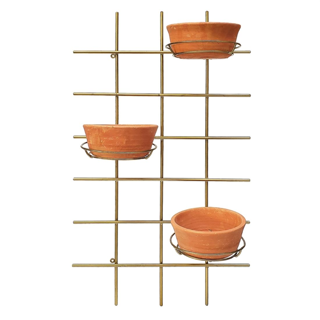 Metal Wall Plant Holder with 3 Terracotta Pots