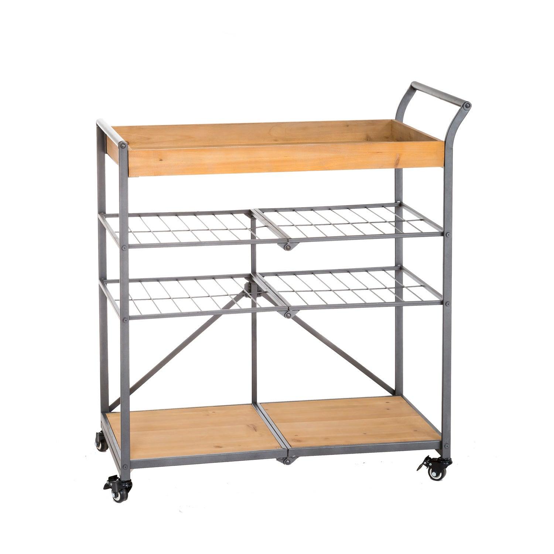 Wooden Rolling Folding Cart