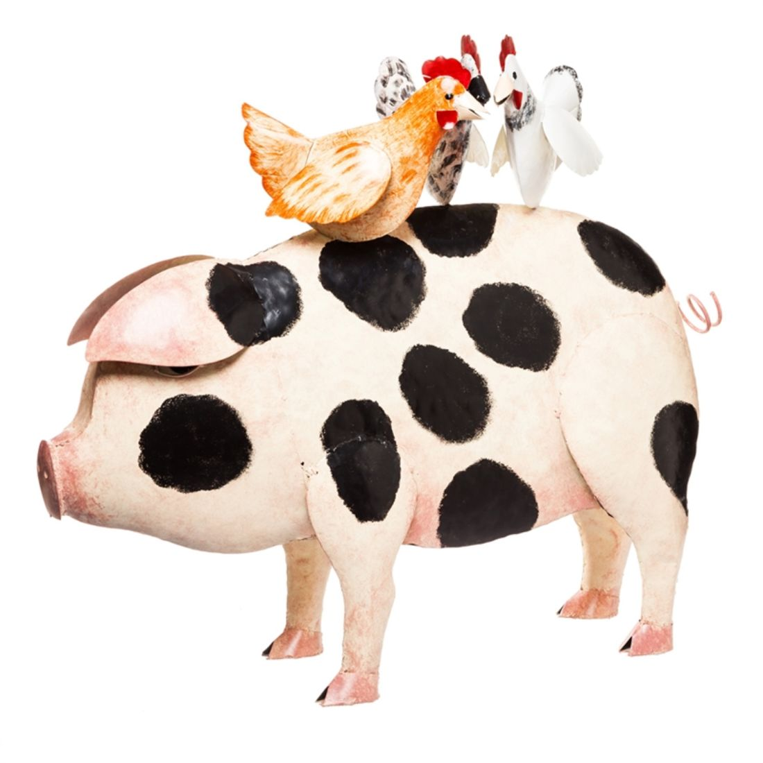 Pig with Chickens Outdoor-Safe Metal Statue