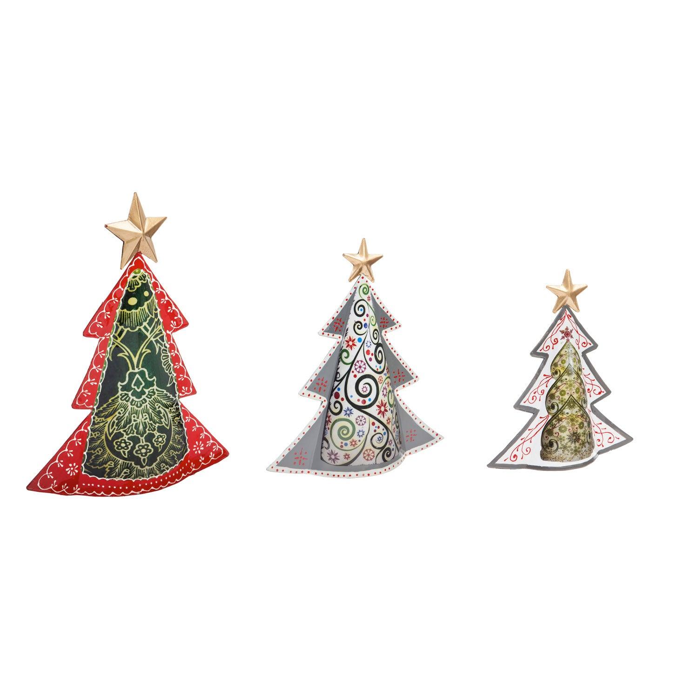 Metal Christmas Tree Table Décor, Set of 3