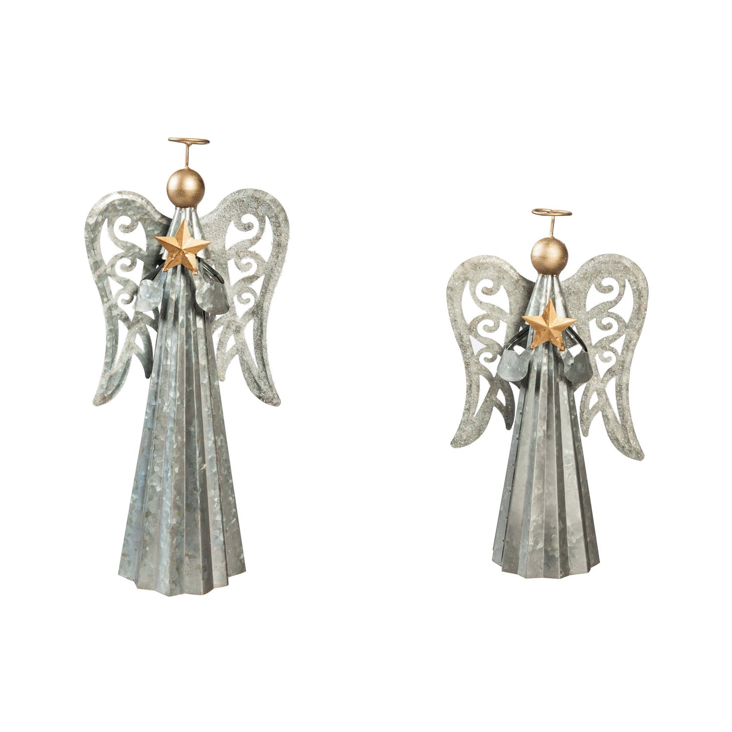 Metal Angel With Star Tabletop Decor, Set of 2