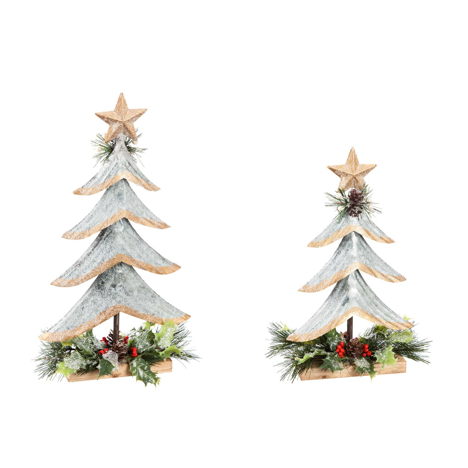 Silver Metal Tree with Glitter and Artificial Tabletop Decor, Set of 2
