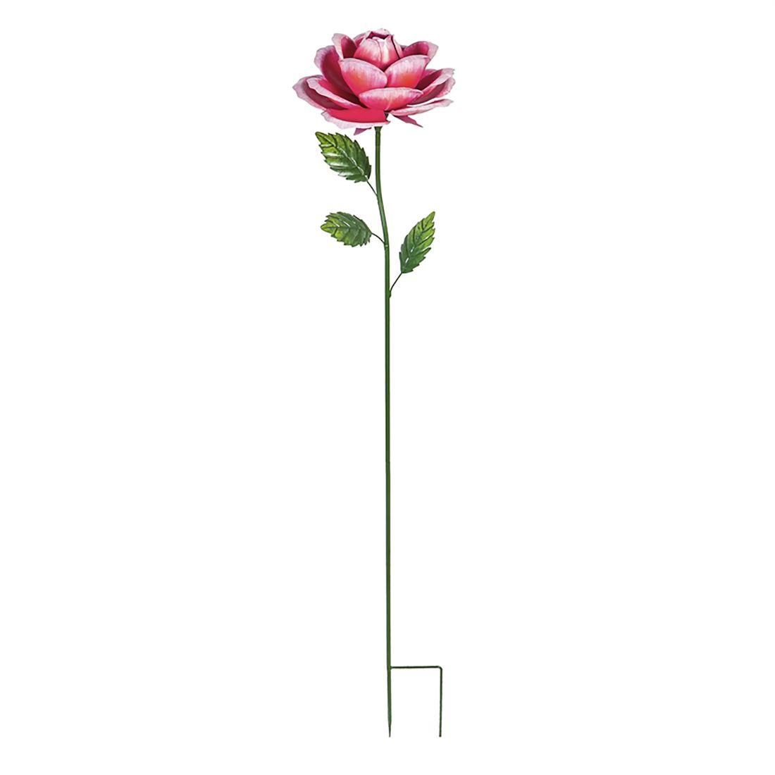Large Metal Pink Rose Stake