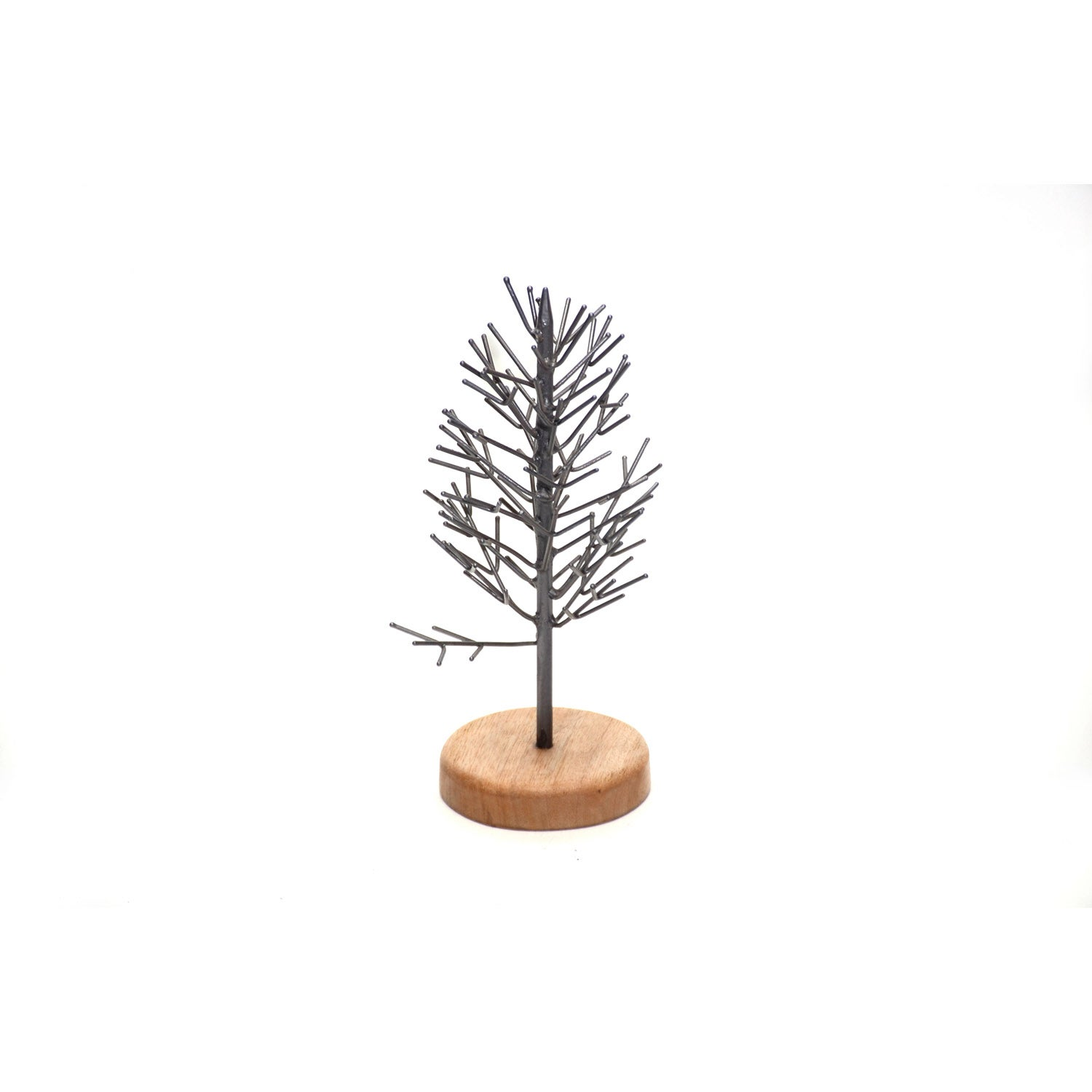"8"" Metal Tree with Wooden Base Table Décor"