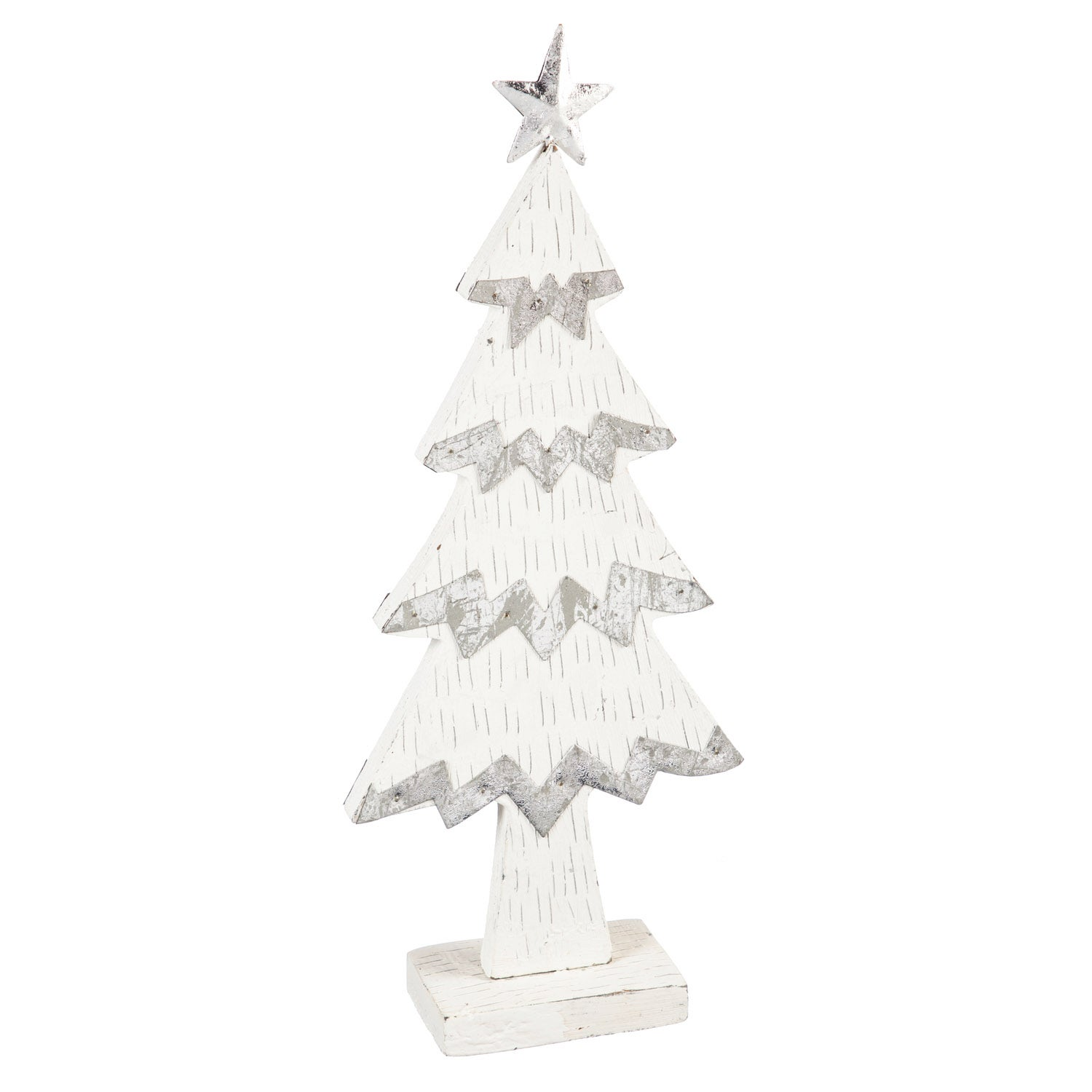 White Wood and Metal Christmas Tree Tabletop Decoration