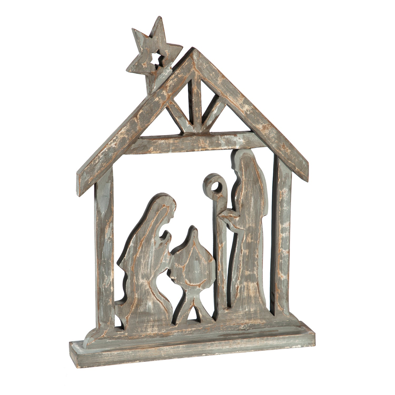 "16"" Wooden Gray Brushed Nativity Tabletop Décor"