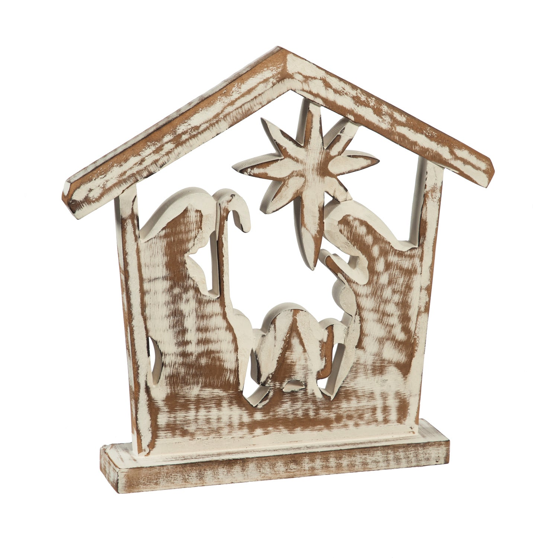 "12"" Wooden White Brushed Nativity Scene Décor"