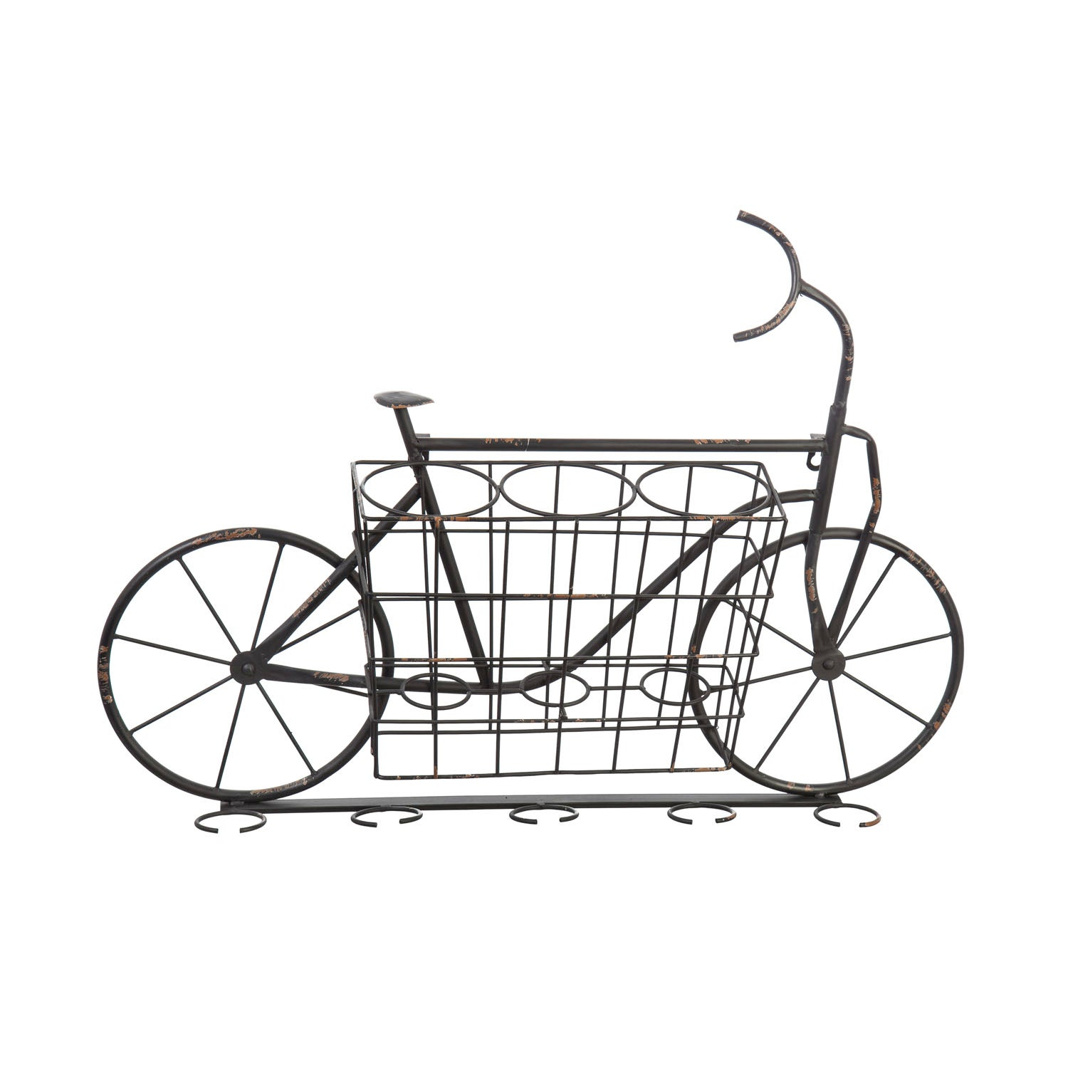 Bicycle Metal Wine and Glass Rack