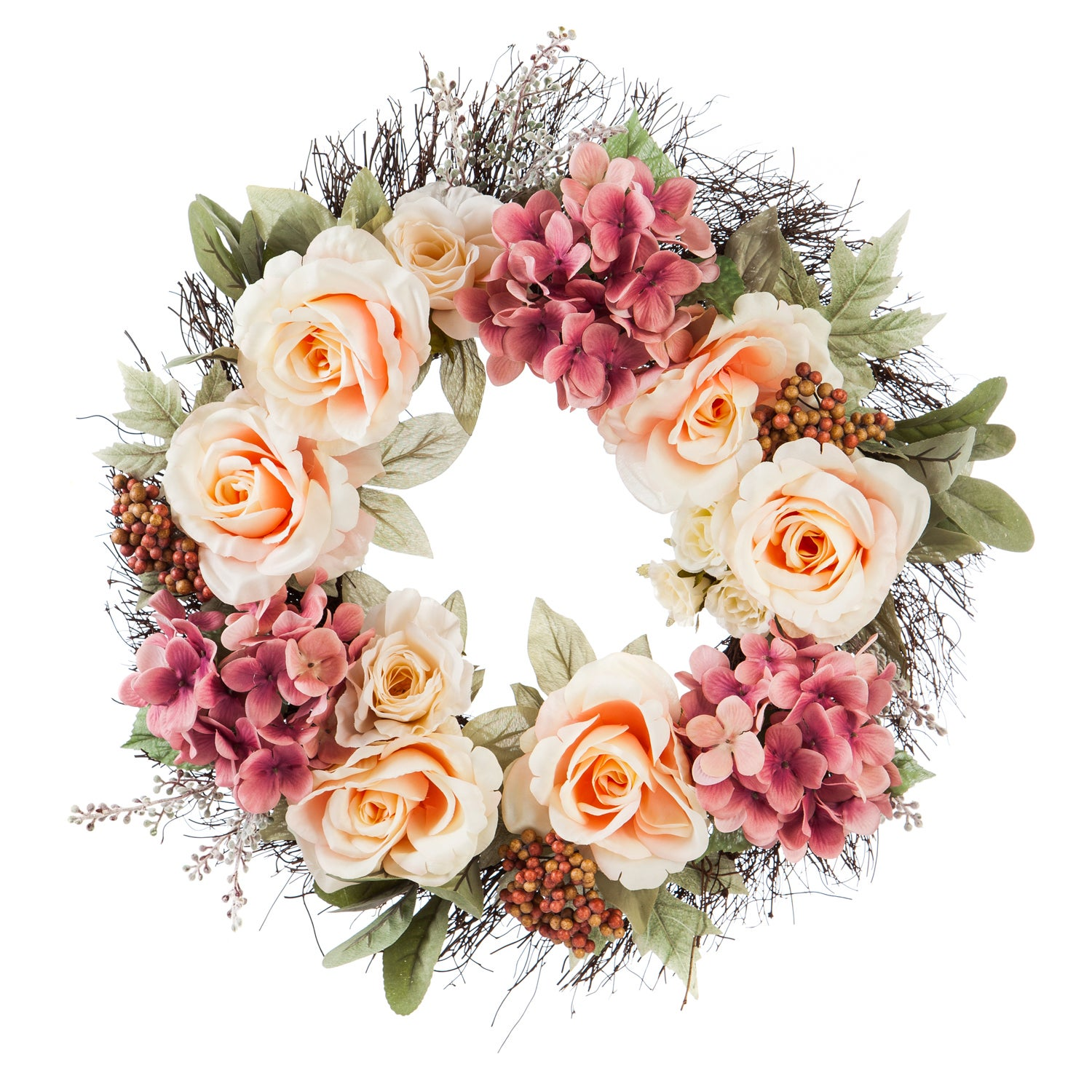 Twig Wreath with Roses, Hydrangeas, Pink Flowers, and Berries