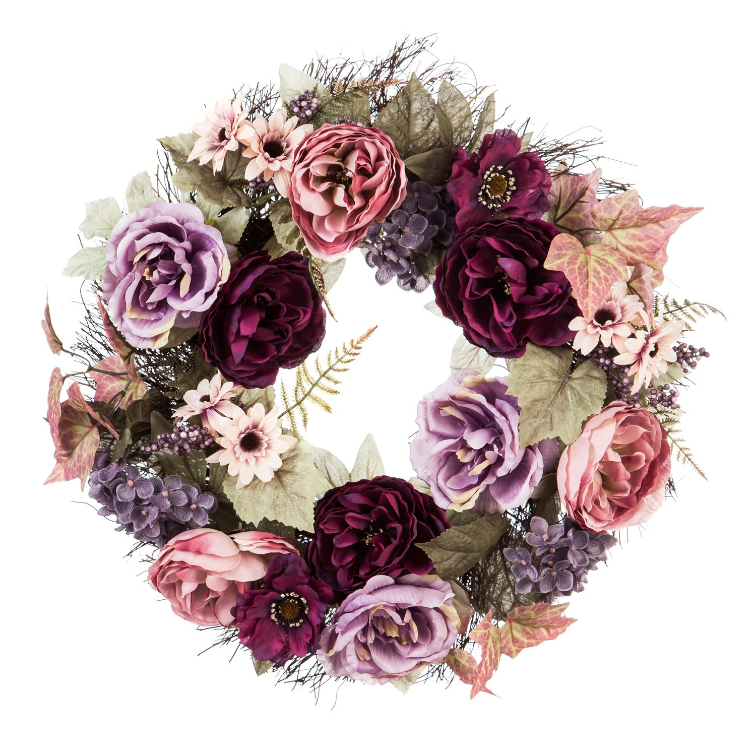 Vine Wreath with Roses, Hydrangeas, and Berries