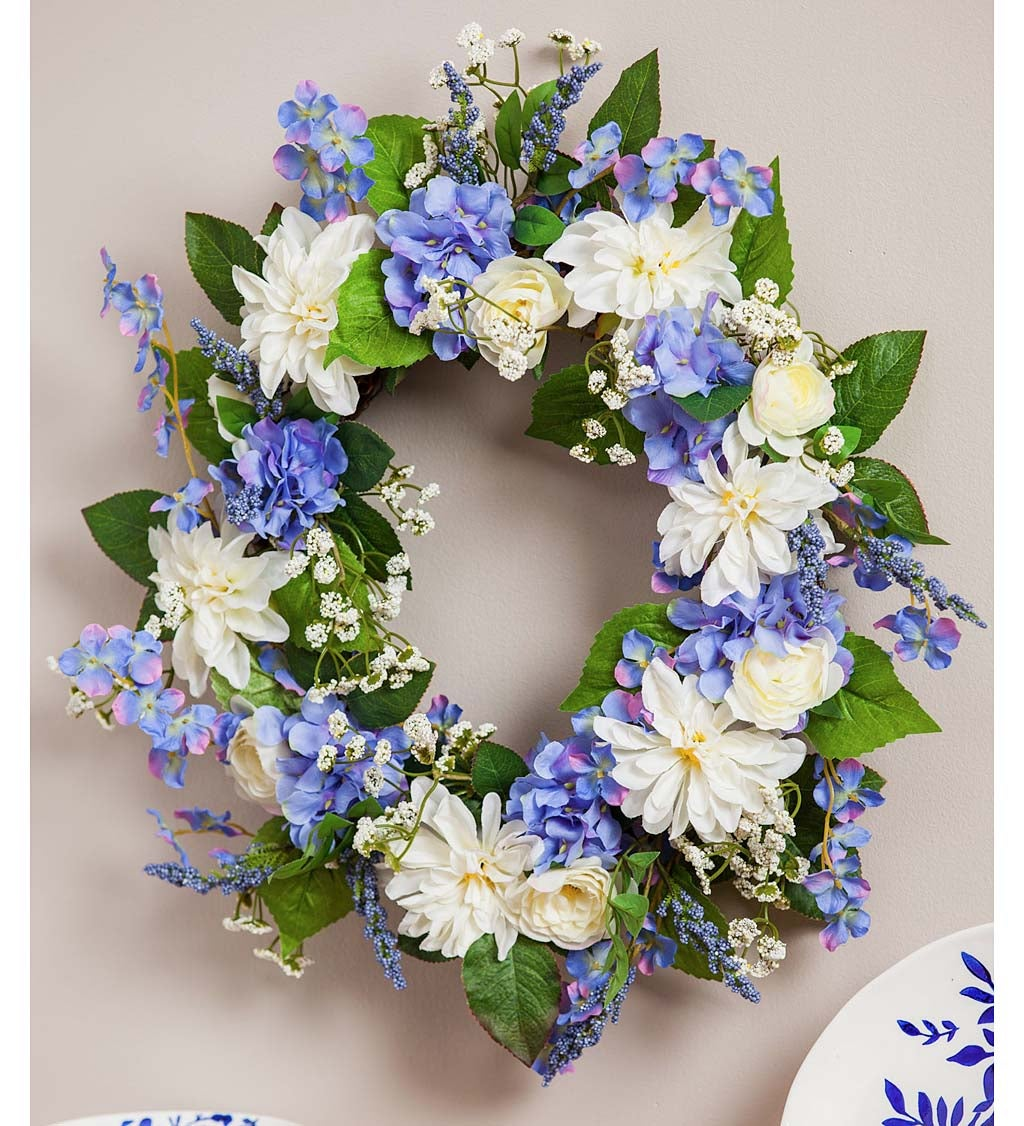 Spring Blue and White Indoor Wreath