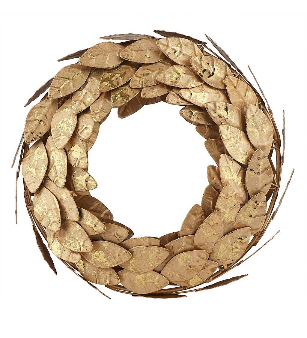 "Gold Metal Magnolia Leaf Wreath 10"""