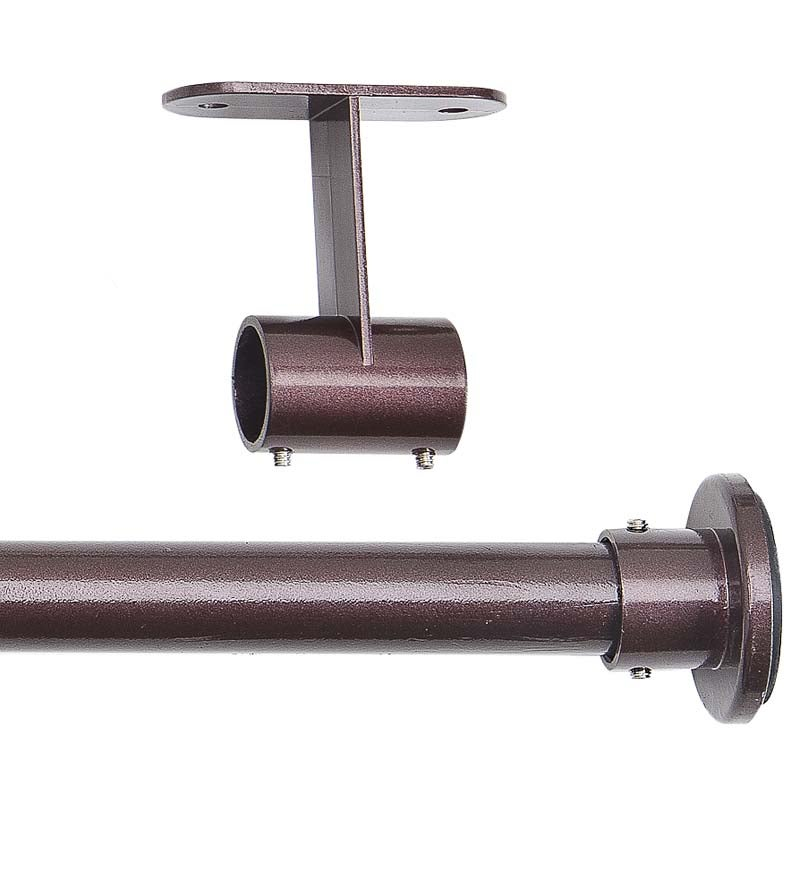 "66-120"" Steel Tension Curtain Rod w/Ceiling Mount Joiner, Espresso"
