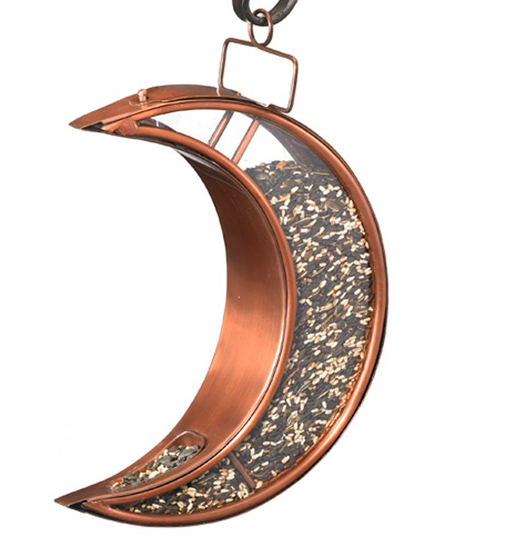 Copper and Plexiglass Crescent Moon Hanging Bird Feeder (Home & Garden Decor) photo