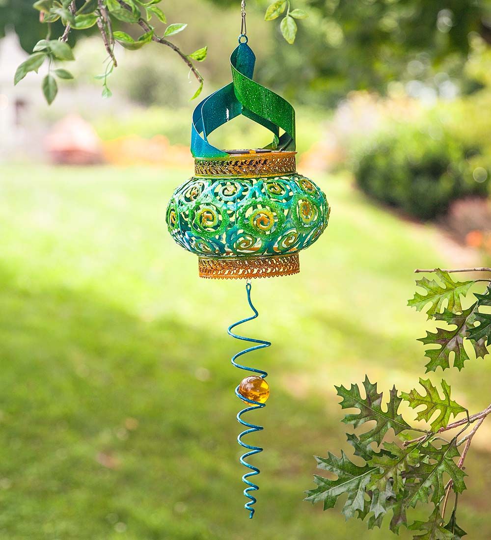 Blue and Green Solar Twirler Garden Wind Spinner