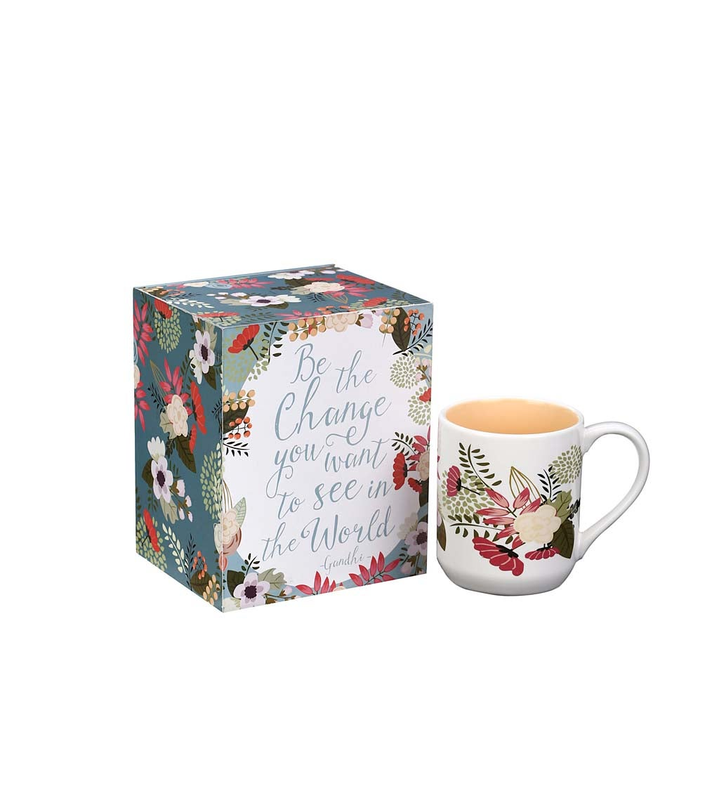 Be the Change Decorative Box and Ceramic Cup Gift Set