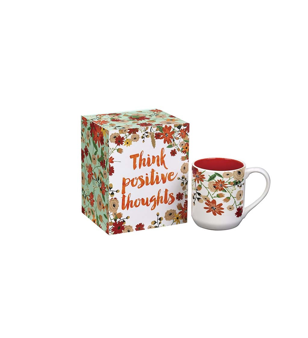 Think Positive Vibes Decorative Box and Ceramic Cup Gift Set