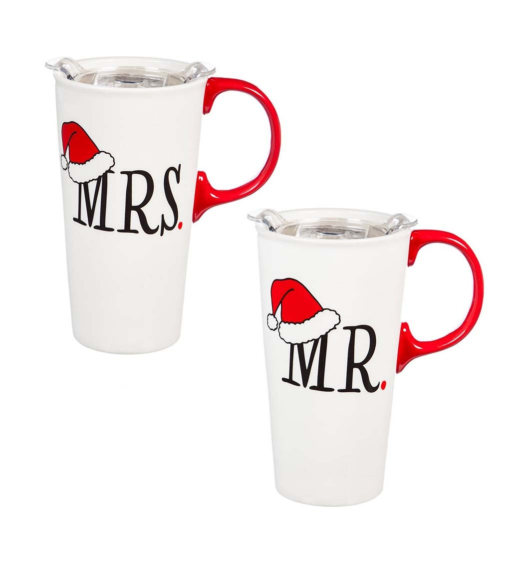 Mr. and Mrs. Santa Ceramic Travel Cups, Gift Set of 2