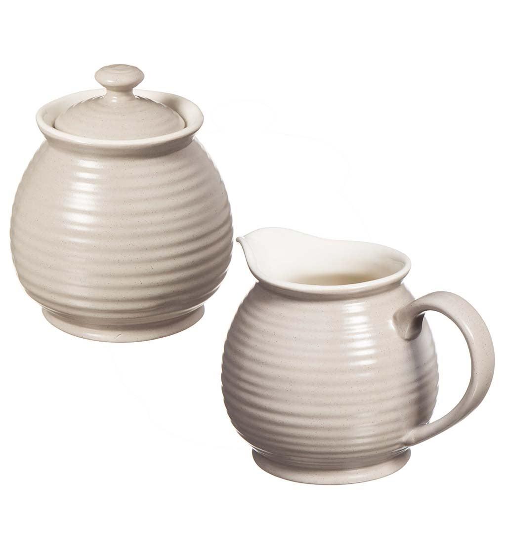 Shiloh Embossed Ceramic Sugar Pot and Creamer, Set of 2