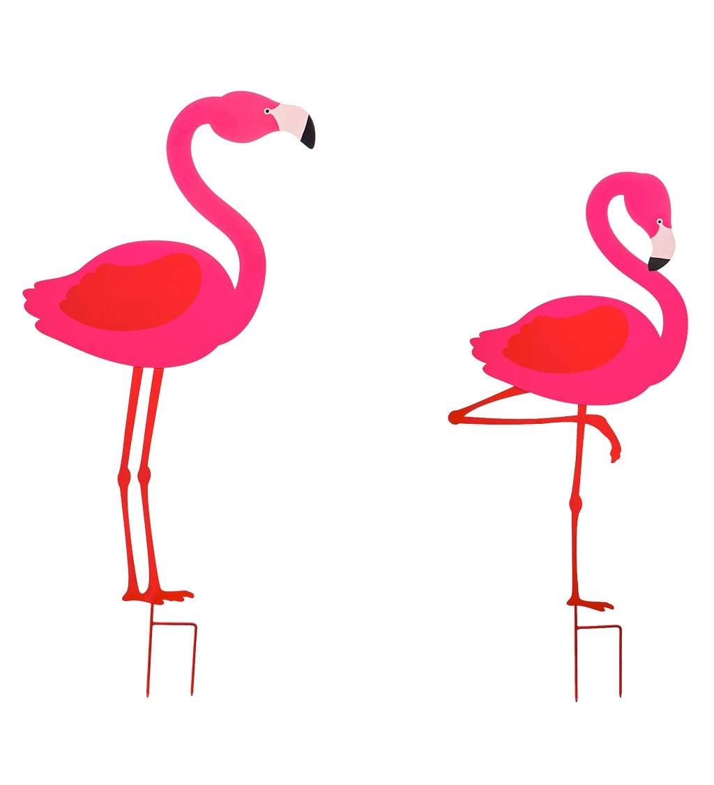 Metal Flamingo Decorative Garden Stakes, Set of 2