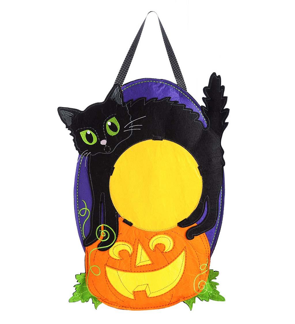 Halloween Black Cat and Jack-O-Lantern Hanging Felt Door Décor photo