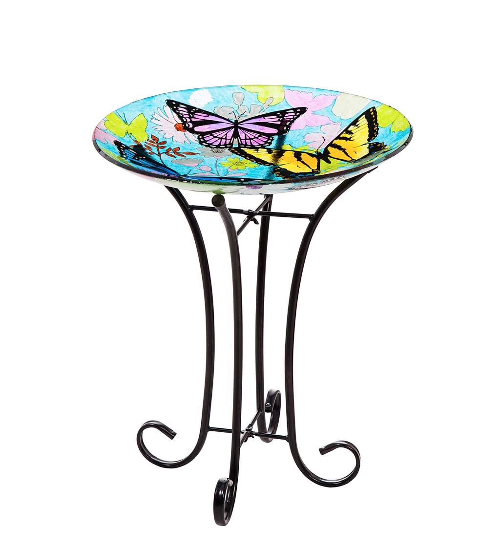Bountiful Butterfly Glass Birdbath Basin with Stand