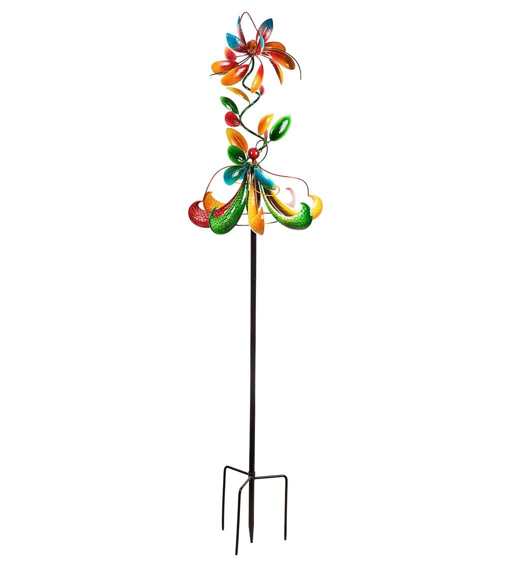 Dancing Flowers Horizontal Metal Wind Spinner