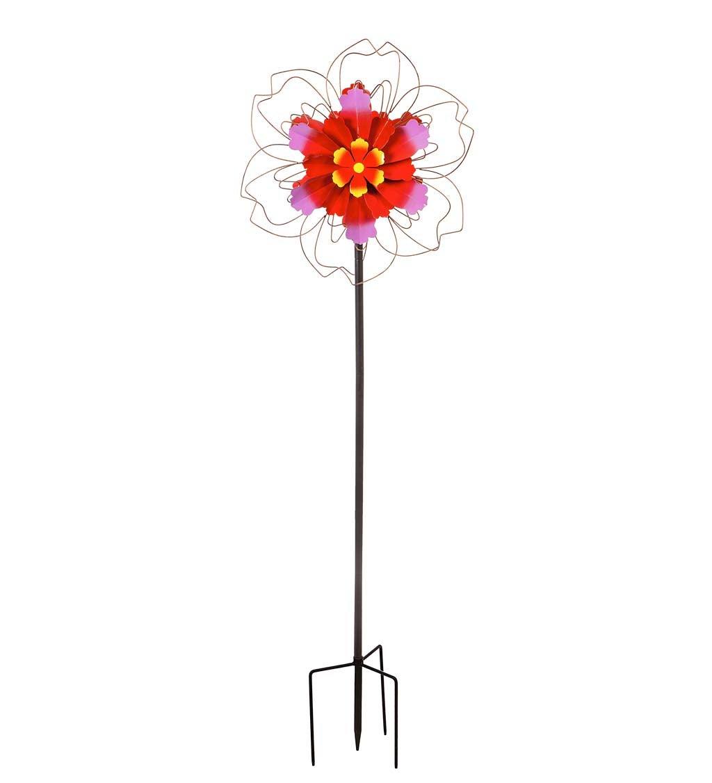 "75""H Pink Floral Metal Wind Spinner"