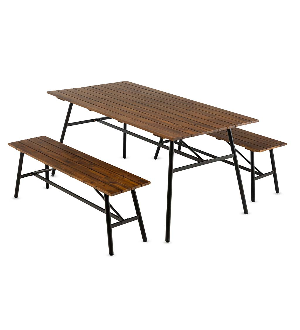 Clover Hill Picnic Table With Metal Frame and Movable Benches