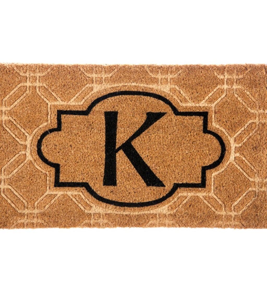 Embossed Monogram Coir Mat, Letter K